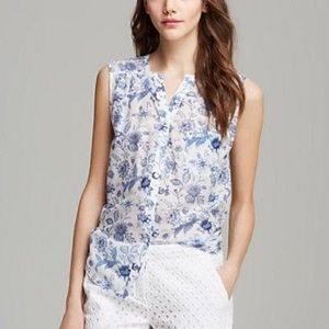 Joie Silk Cotton White and Blue Button Tank Top S